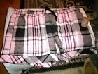 New Womens Woven Poplin Sleep Shorts ASSORTED SIZES Black Soot Pink Plaid Secret
