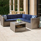 SOLAURA Outdoor Sectional Sofa Set Wicker Couch Table Gray Chair Patio Furniture