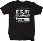Kiss My Southern Attitude Cowboy Cowgirl Hat Country Redneck T-shirt