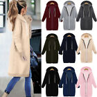 Plus Size Womens Winter Jumper Jacket Coat Cardigan Hooded Long Zipper Outerwear