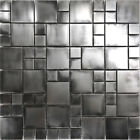 Rustic Industrial Stainless Steel Pattern Mosaic Tile Kitchen Backsplash Spa