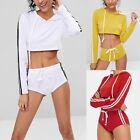 Womens Striped Sports Full Tracksuit Fitness Elastic Waist Crop Tops+Shorts Suit