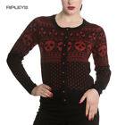 Hell Bunny Black Top CLARA CARDIGAN Skull Christmas Festive Red All Sizes