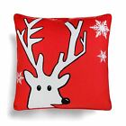 "Christmas Cushion Cover Luxury Festive Red Xmas Chenille Throw Covers 18"" x 18"""