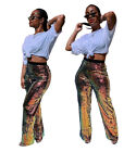 Fashion Women Color Sequins High Waist Long Pants Club Casual Straight Trousers