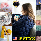 Merino Wool Chunky Knit Blanket Chunky Arm Knit Throw Knitted Blanket Hand DIY image