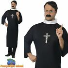 Priest Black Robe Vicar Holy Religious Monk Clergyman Mens Fancy Dress Costume
