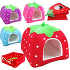 S M L Pet Dog Cat Bed House Foldable Kennel Cushion Basket Blue/Purple/Red/Pink