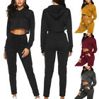 2Pcs Womens Tracksuits Casual Hooded Hoodies Sweatshirt+Pants Sets Sport Suit