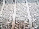 Discount Fabric Stretch Mesh Lace White Embroidered Floral Stripe Sheer D103
