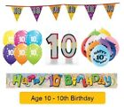 AGE 10 - Happy 10th Birthday Party Banners Balloons Badges Candles & Decorations