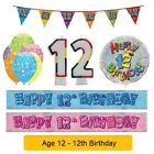 AGE 12 - Happy 12th Birthday Party Banners Balloons Badges Candles & Decorations