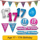 AGE 17 - Happy 17th Birthday Party Banners Balloons Badges Candles & Decorations