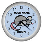 Child Clock Personalized Blue Cartoon Animal Plastic Battery Round 50 Animals