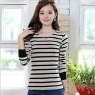 Hot Sale Warm Women Long Sleeve Ladies Striped Tops Stretch Slim Girls T-shirts
