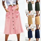 Fashion Women Mid A-line Skirts Casual Long Single-Breasted Skirt With Pocket