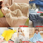 Super Soft Warm Plain Warm Micro Plush Fleece Blanket Throw Sofa Bedding image