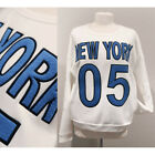 NEW White New York Embroidered Quilted Elbow Patch Side Pocket Fleece Sweatshirt