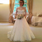 Women White Wedding Dresses Full Lace Long Sleeve Dress Backless Bridal Gowns US фото