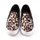 Womens Ladies Leopard Loafers Pumps Casual Slip On Flat Sneakers Shoes Size 3-6