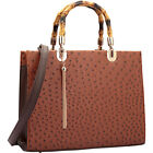 Dasein Ostrich Material Wooden Handle Leather Satchel
