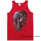 Patriotic Chief Skull Native American Indian Graphic Tank Top