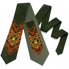 Ukrainian High Quality Mens Ties Embroidered Tryzub Trident Vyshyvanka Neck Ties