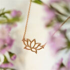 Fashion Gold Silver Color Lotus Flower Pendant Necklace Gift Wedding Party Women