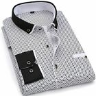 Men Fashion Casual Long Sleeved Printed shirt Slim Fit Male Social Business Dres