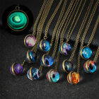 Double Sided Glass Dome Planet Glow In The Dark Galaxy Necklace Pendant System