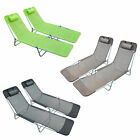 2pc Garden Lounger Recliner Day Bed Chair Adjustable Back Patio Home Furniture