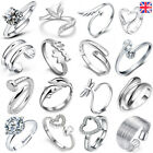 Womens Mens 925 Sterling Silver Plated Adjustable Wedding Engagement Rings Gift
