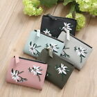 Womens Girls Embroidered leather wallet floral student faux leather clip purse