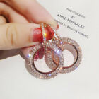 925 Silver Luxury Crystal Round Drop Dangle Earrings Womens Jewellery Gift Party