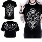 Womens Fashion Casual T-shirt GALAXY CAT Gothic Blouse with A Moon Cat US