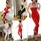 Lady Bodysuit See Transparent Open Crotch Catsuit Gothic PU Neck Choker Clubwear