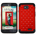 Bling Rhinestone Cover +Impact Silicone Case for LG Optimus Exceed 2 MS323 L70