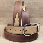 U-3707 SILVER CREEK CLASSIC WESTERN APACHE 1-3/8* BROWN W/ BAY LEATHER MENS BELT