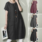 ZANZEA Women Vintage Summer Short Sleeve T-Shirt Dress Midi Dress Plus Sundress