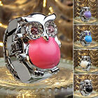 Women Girls Shiny Rhinestone Owl Case Stainless Steel Elastic Finger Ring Watch