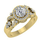 14K Yellow Gold Halo Solitaire Ring SI1 G 1.80 Ct Natural Round Diamond 10.10 mm