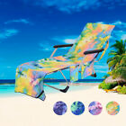Beach Chair Cover Chaise Sun Lounge Towel Cover Pool Vacation Storage Pockets