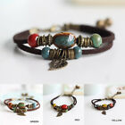 Boho Handmade Double Layer Rope Leather Leaf Beads Bracelet For Womens Men Gift