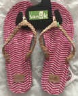 Sanuk Women's Poncho Viva Tan Leather Flip-flops Shoes NWT  Magenta Pink Sz 6