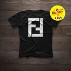 New 1Fendi T Shirt 1Fendi Logo Men Black T-Shirt Cotton Size S-3XL image