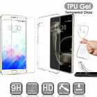 For Meizu Meilan Soft Silicone Clear TPU Gel Case Cover + Tempered Glass