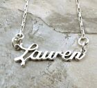 Sterling Silver Name Necklace -Lauren -on Drawn Box Necklace -0908