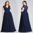 Ever-Pretty Plus Size V-neck Cap Sleeve Long Lace Evening Dresses Prom Gown 7672