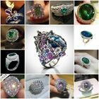 925 Silver Multi-color Sapphire Emerald Women Ring Cocktail Wedding Size 6-10