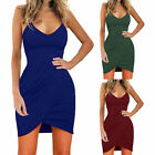 Womens Sleeveless Sexy Deep V-Neck Bodycon Evening Party Wrap Dress High Waist
